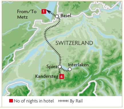Map of Swiss Alps Swiss Alps Itinerary Map