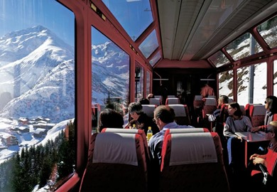 First Class Glacier Express at Christmas (Brig-Chur)