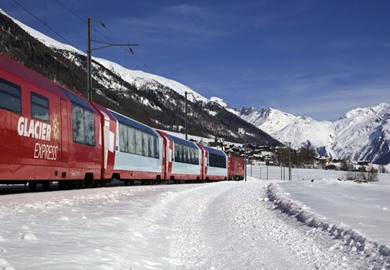 First Class Glacier Express at New Year (Brig-Chur)