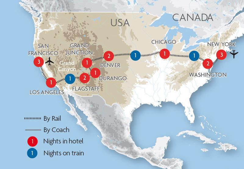 USA Train Holidays and Rail Tours – Rail Travel Usa Map