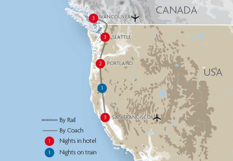 Street map Pacific Coast US Canada