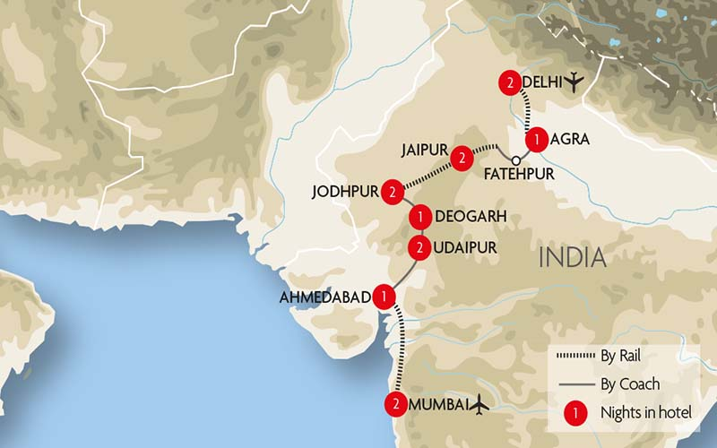 India Train Holidays and Train Holidays – Odyssey Travel Map