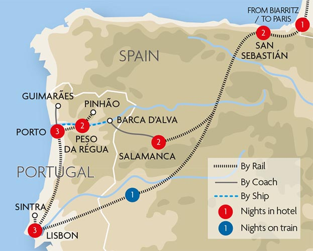 Portugal The Douro Tour Great Rail Journeys - Portugal map train