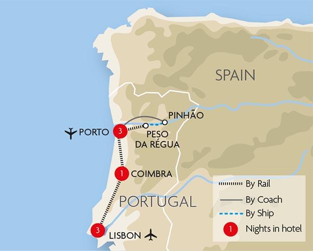Portugal Train Holidays Rail Tours Great Rail Journeys - Portugal map train