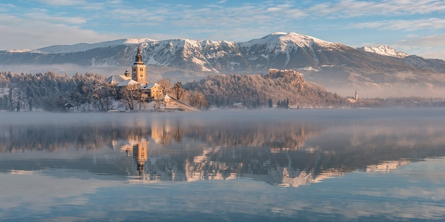 Winter Morning On Lake Bled