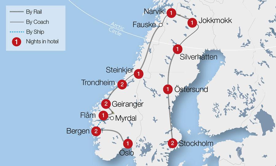 Arctic Circle Express Tour Great Rail Journeys - Jokkmokk sweden map