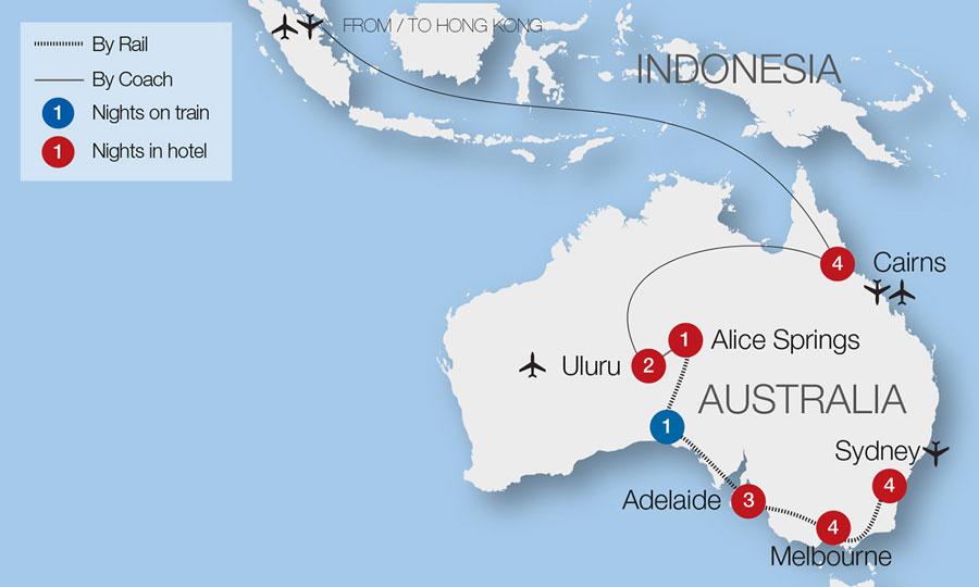 Australia Tour Map.Australia Train Tours Rail Tours Great Rail Journeys