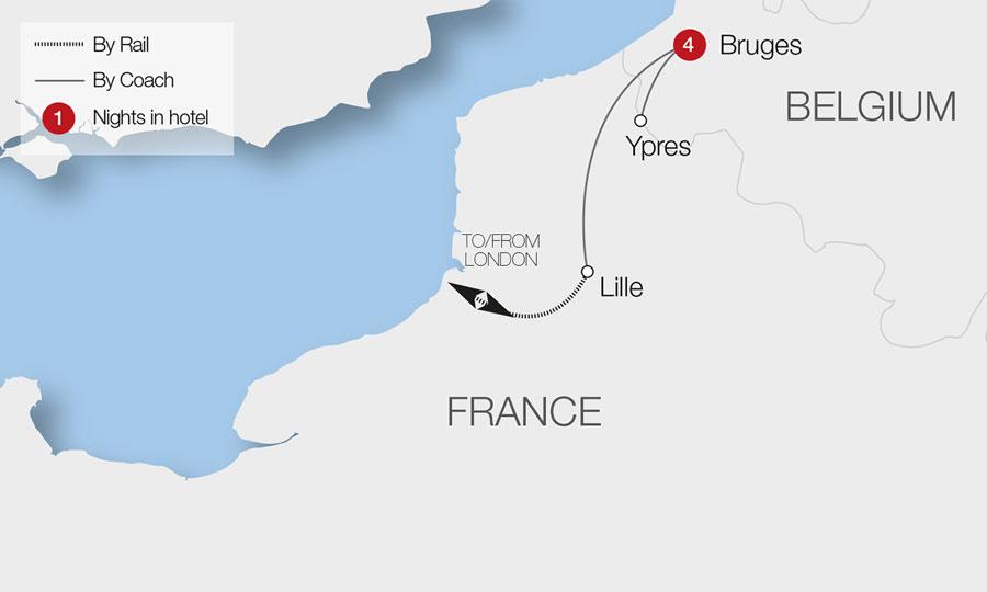 Bruges France Map.Bruges The Battlefields Of Ypres Great Rail Journeys