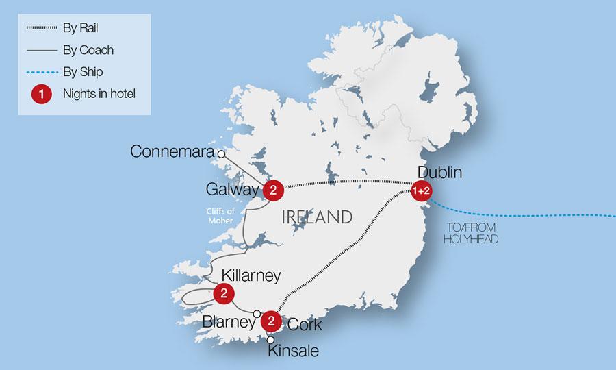 Rail Map Of Ireland.Ireland Train Holidays Rail Tours Great Rail