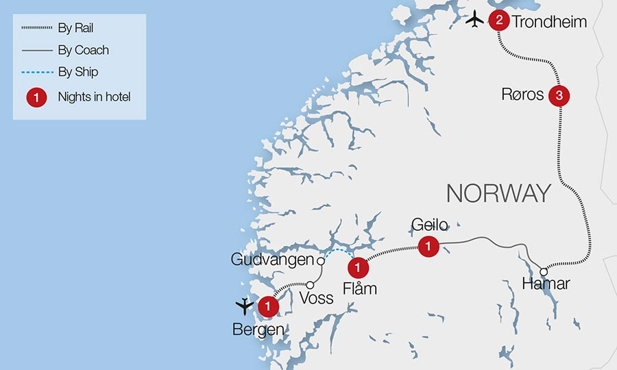 Norway Train Holidays Rail Tours Great Rail Journeys - Norway map voss