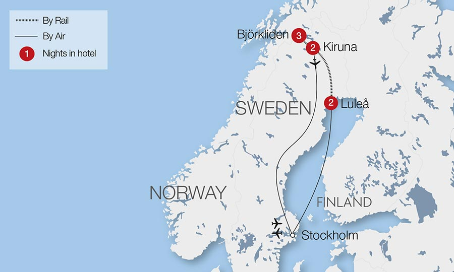 Northern Lights Escorted Tours Great Rail Journeys - Norway map northern lights
