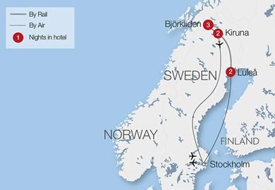 Northern Lights Over Swedish Lapland Great Rail Journeys - Sweden lapland map