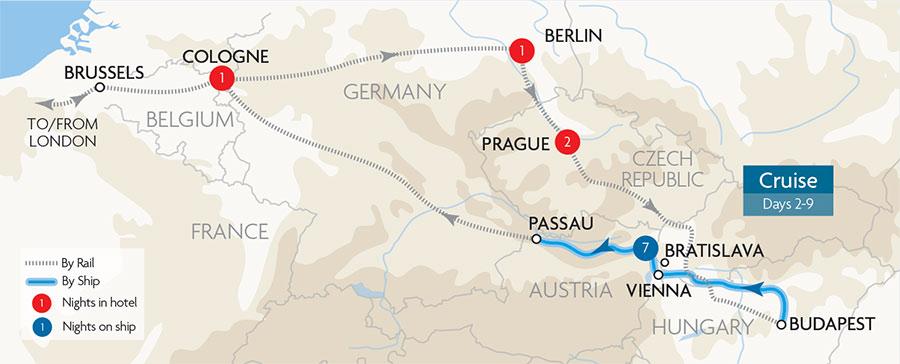 Escorted Danube River Cruises Great Rail Journeys - Danube river location on world map