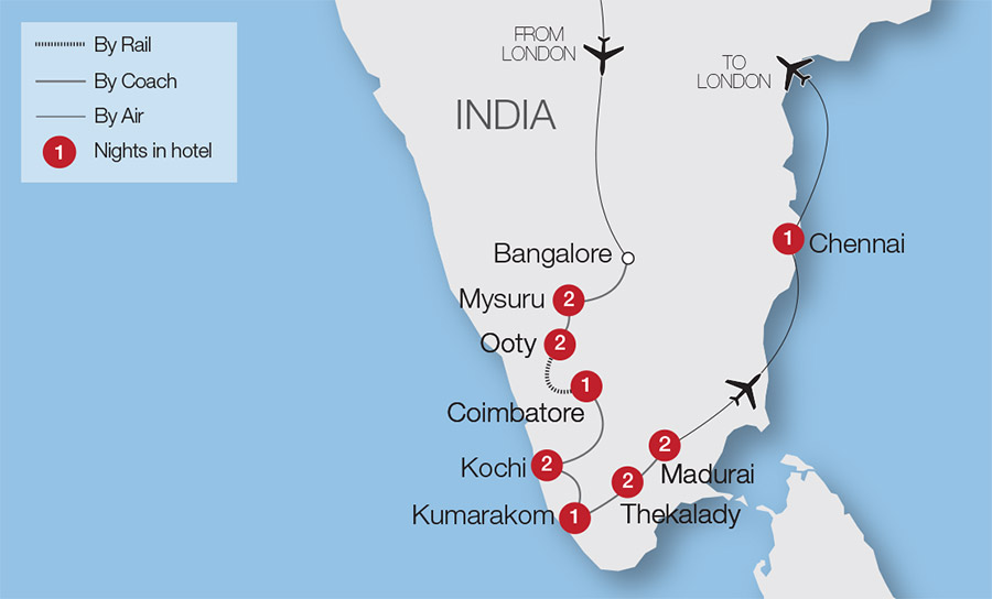 Southern Railway Map Of India.Kerala Exotic Southern India Tour Great Rail Journeys