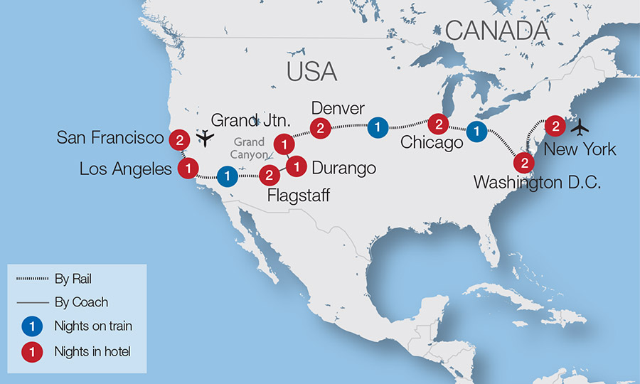 Train Travel Usa Map.North American Train Tours Tours Great Rail Journeys