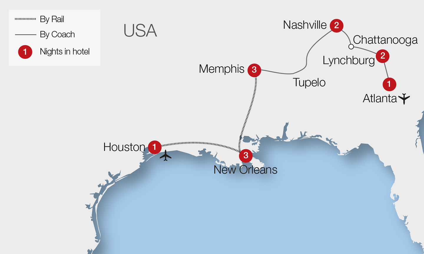 Tracks Of The Deep South Tour Great Rail Journeys - Atlanta to nashville rail on map of us