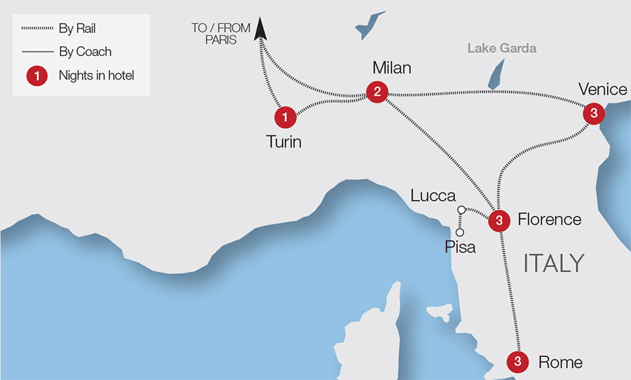 Map Of Italy Train Routes.Italy Rail Holidays Escorted Tours Trips Great Rail Journeys
