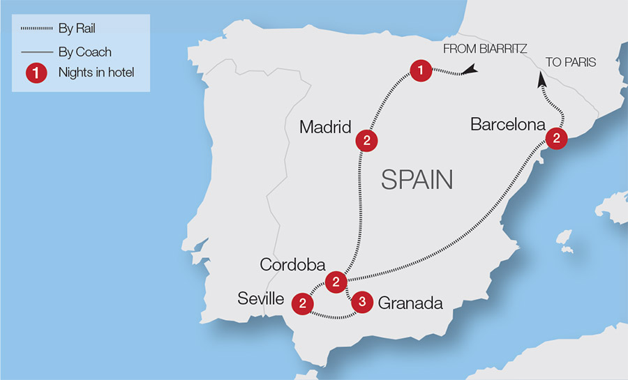 Map Of Spain Showing Seville.Seville Train Holidays Rail Tours Great Rail Journeys