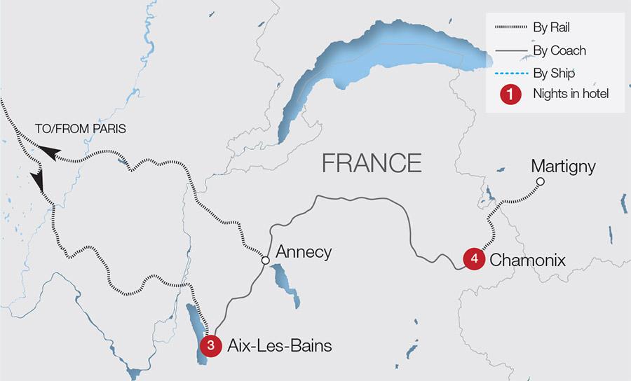Mont Blanc France Map.Mont Blanc Express Rail Tours Great Rail Journeys