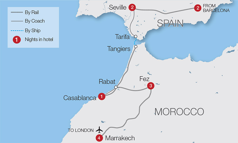 Map Of South West Coast Of Spain.Spain Train Holidays Rail Tours Great Rail Journeys
