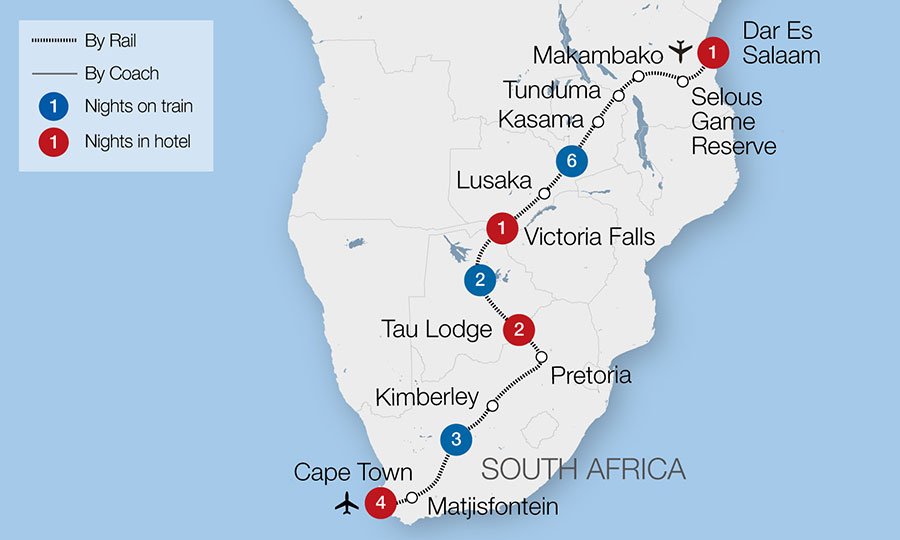 Map Of Africa Victoria Falls.Dar Es Salaam Victoria Falls The Pride Of Africa Great Rail