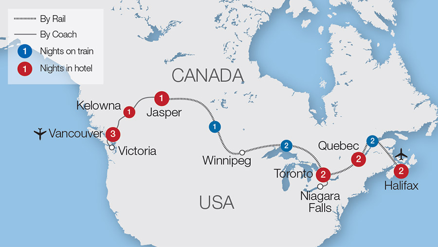 Map Of Canada Via Rail.Canada Rail Holidays Escorted Tours Trips Great Rail Journeys