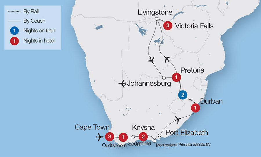 Map Of Africa Johannesburg.African Rail Tours Escorted Tours Trips Great Rail