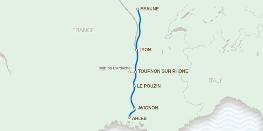 Map Of France With Cities And Rivers.Rhone Escorted River Cruises Great Rail Journeys