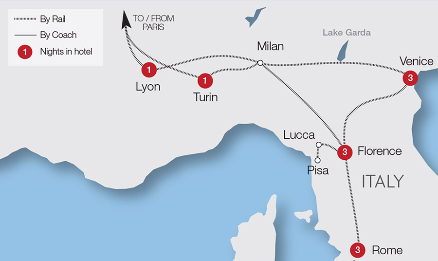 Rail Map Of Italy.Italy Rail Tours Escorted Tours Trips Great Rail Journeys