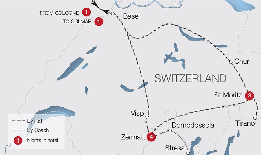 Glacier Express | Rail Holidays & Escorted Tours | Great ... on arctic circle map, lauterbrunnen map, cape town map, zermatt map, milan map, japan map, whistler village gondola map, aletsch glacier map, many glacier map, bahn glacier map, switzerland map, sydney map, lake garda map, bellinzona map, albania map, alps map, italy map, davos map,
