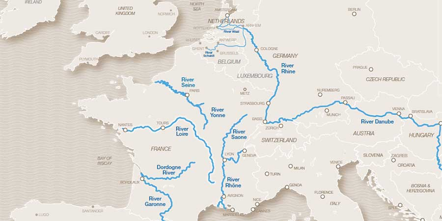 Map of River Cruising in Europe