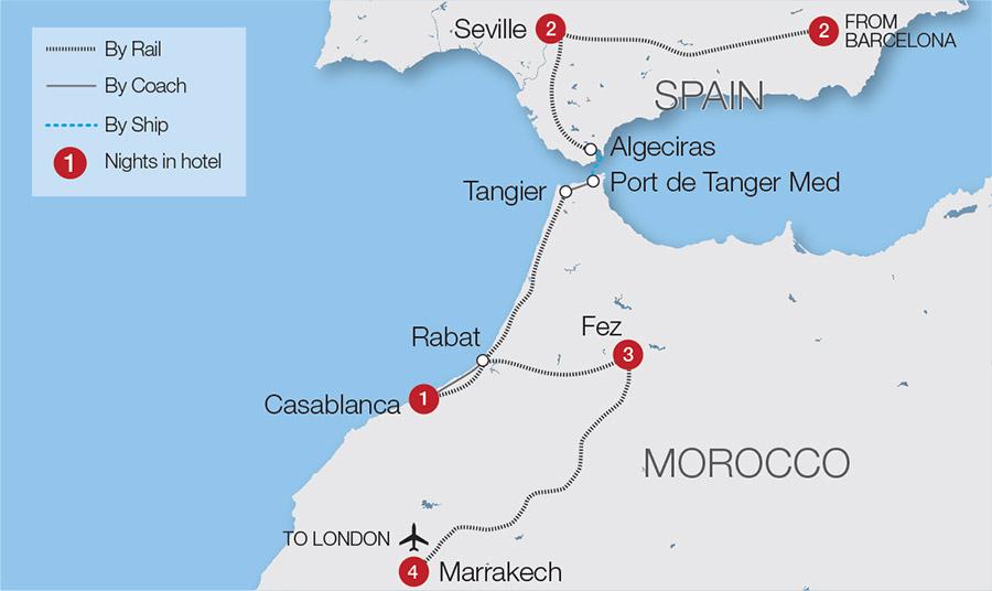Map Of Spain Morocco.Magnificent Morocco Moorish Spain Rail Tour Great Rail Journeys