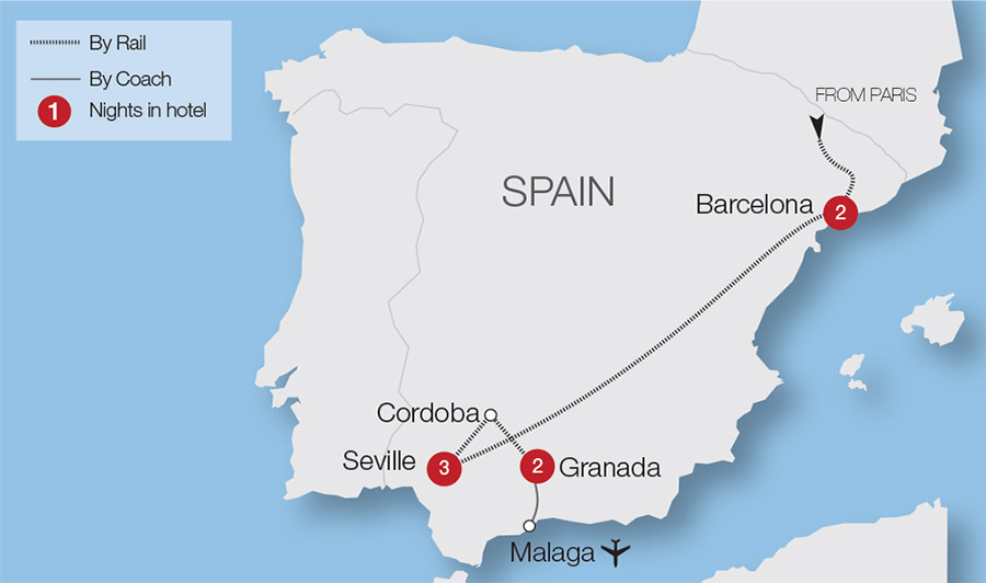 Barcelona & The Treasures of Southern Spain Rail Tour | Great Rail on spain map regions and cities, map of palau cities, map of burundi cities, map of s korea cities, pamplona spain map cities, map of ussr cities, map of mexican riviera cities, map of niger cities, map of oceania cities, map of democratic republic of congo cities, map of new brunswick canada cities, map of the us cities, map of latin america cities, map europe cities, map of islam cities, spain major cities, map of the carolinas cities, map of kosovo cities, map of atlantic ocean cities, map of guyana cities,